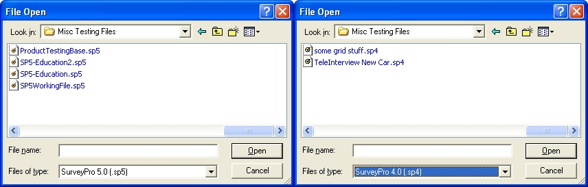 Files of Type Dialog Window